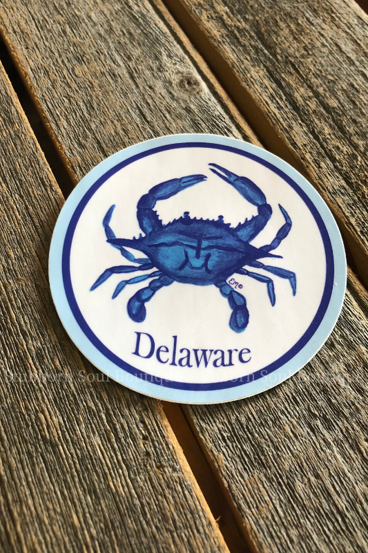 Delaware Blue Crab Sticker Stubborn Soul Boutique