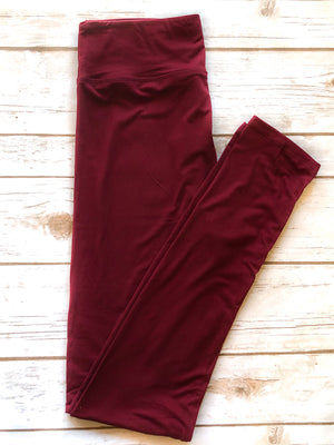 Rebecca Solid Leggings in Burgundy