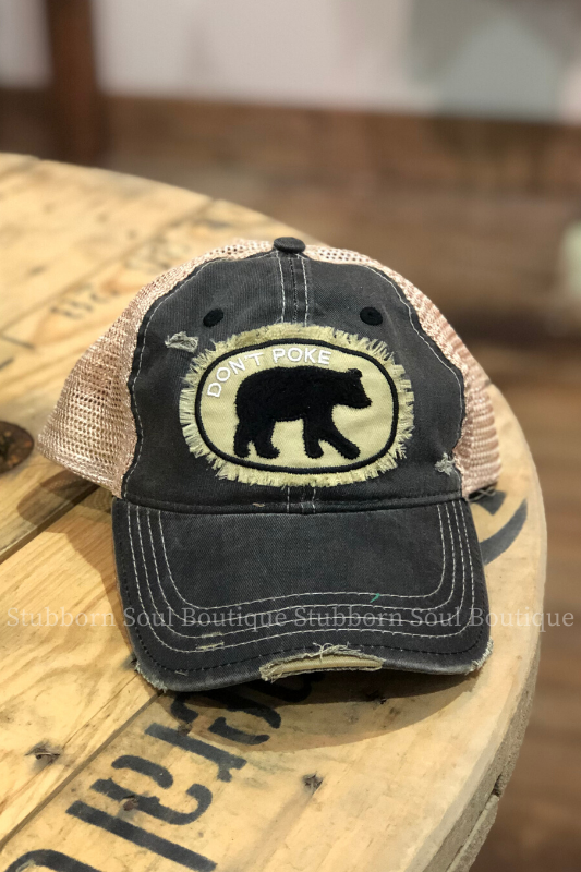 Don't Poke Distressed Black Hat Baseball Hat Stubborn Soul Boutique