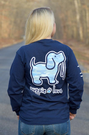Puppie Love Camo Fill Pup Long Sleeve Tee Ladies Top Stubborn Soul Boutique