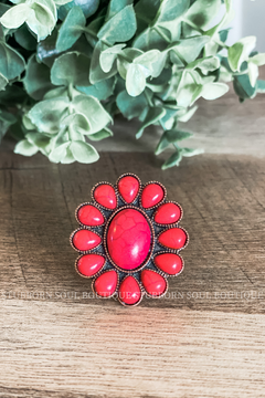 Red Stone Flower Stretch Ring
