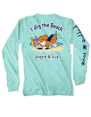 Puppie Love I Dig Pup Long Sleeve Tee