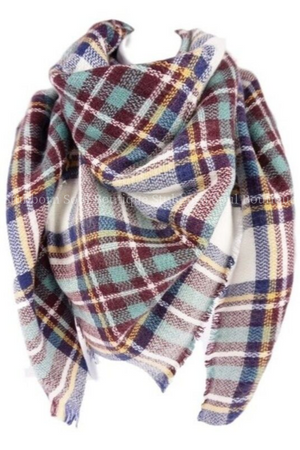 Cozy Feeling Blanket Scarf White & Mint Plaid
