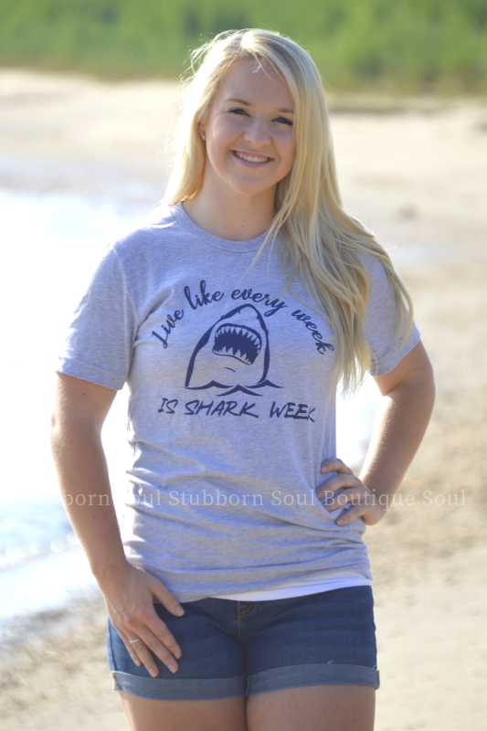 Shark Week Tee Ladies Top Stubborn Soul Boutique