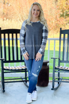 Presley Buffalo Plaid Top in Ivory/Black