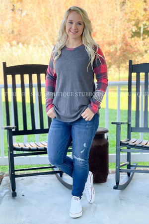 Presley Buffalo Plaid Top in Red/Black