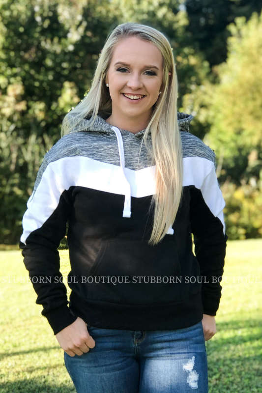 Alisa Color Block Hoodie in Charcoal & Black