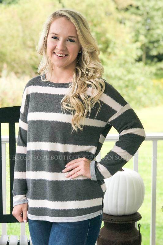 Anna Striped Long Sleeve Top