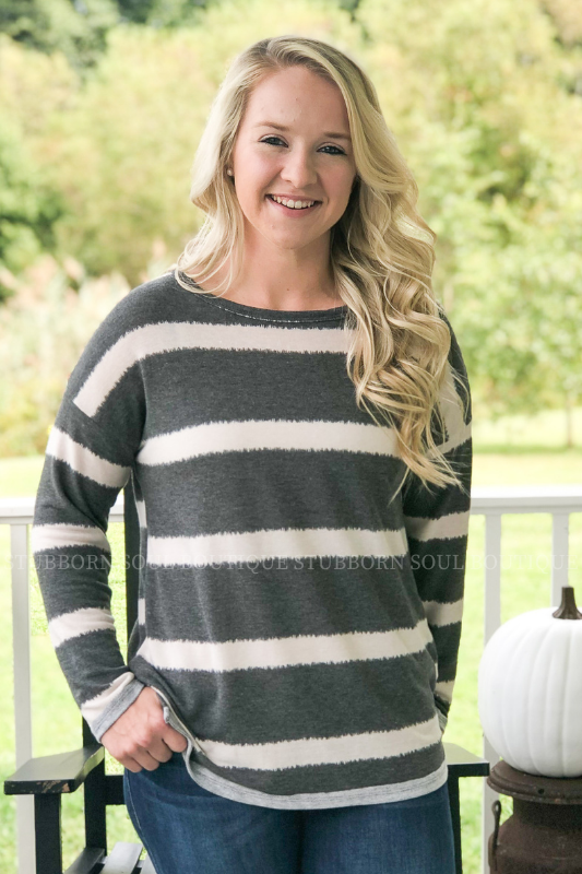 Anna Striped Long Sleeve Top (Clearance)