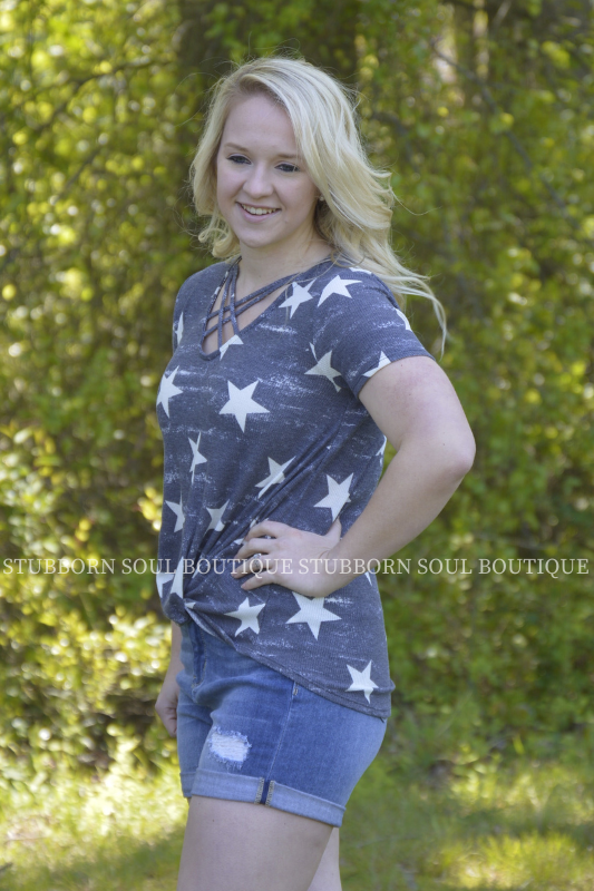 Grace Star Print Top Ladies Top Stubborn Soul Boutique