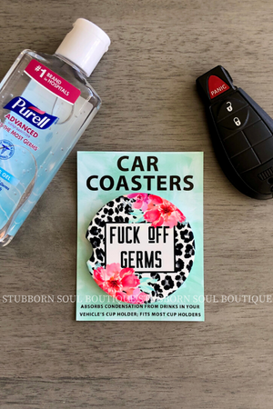 F*ck Off Germs Car Coaster Car Coaster Stubborn Soul Boutique
