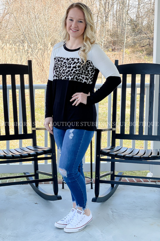 Color Block Leopard Top