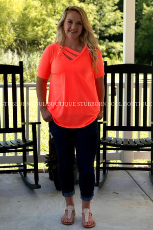 Reese V Neck Tee in Neon Coral Ladies Top Stubborn Soul Boutique