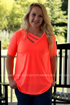 Reese V Neck Tee in Neon Coral