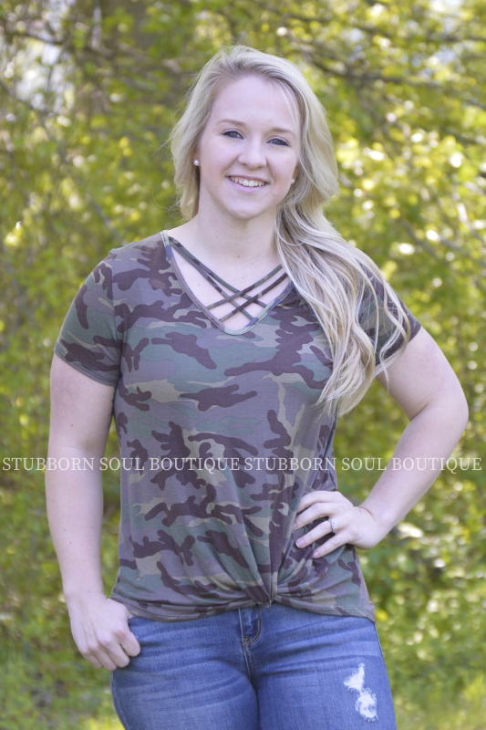 Oaklynn Camo Top Ladies Top Stubborn Soul Boutique
