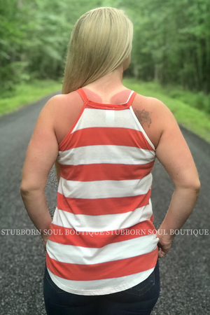 Ensley Coral & Ivory Tank Ladies Top Stubborn Soul Boutique