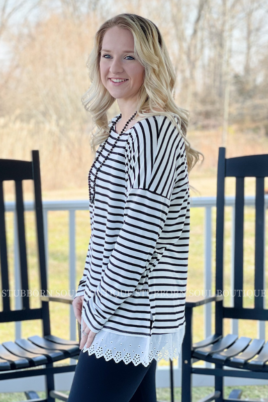 Ivory/Black Stripe Top