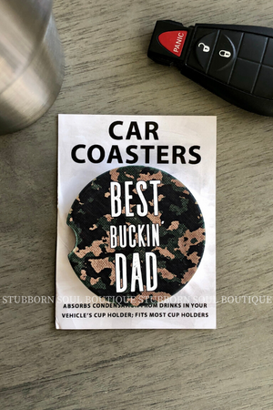Best Buckin Dad Car Coaster (Clearance) Car Coaster Stubborn Soul Boutique