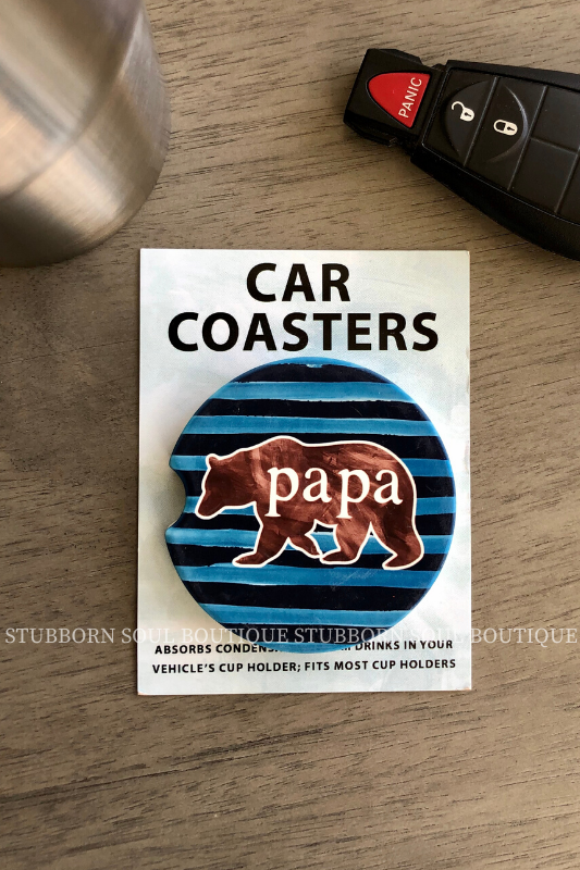 Papa Bear Car Coaster Car Coaster Stubborn Soul Boutique