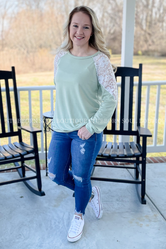 Sage Lace Shoulder Top