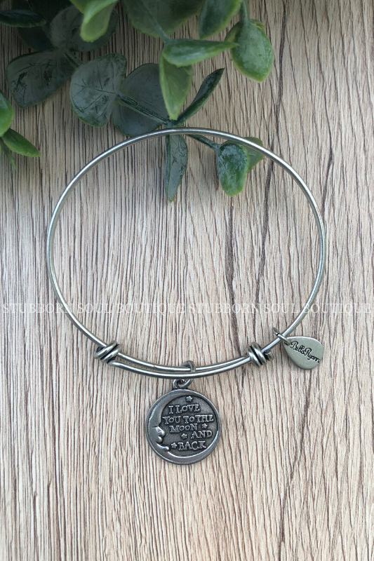 Love You Moon & Back Silver Charm Bracelet (Clearance) Charm Bracelet Stubborn Soul Boutique
