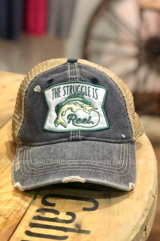 The Struggle is Reel Distressed Navy Baseball Hat Baseball Hat Stubborn Soul Boutique