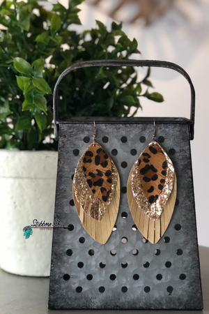 3 Tiered Fringed Leopard & Gold Glitter Leaf Earrings Stubborn Soul Boutique