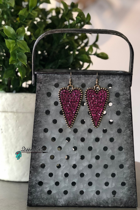 Tessa's Fuchsia Crystal Heart Earrings