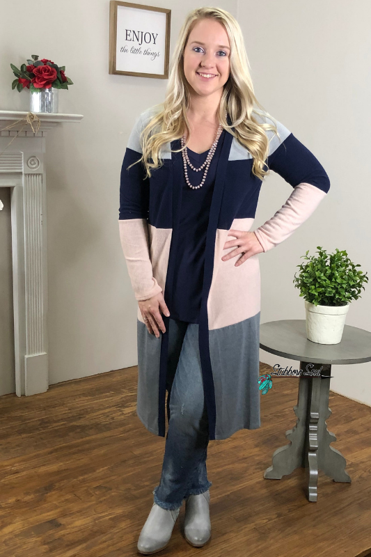 Melissa Color Block Cardigan Duster