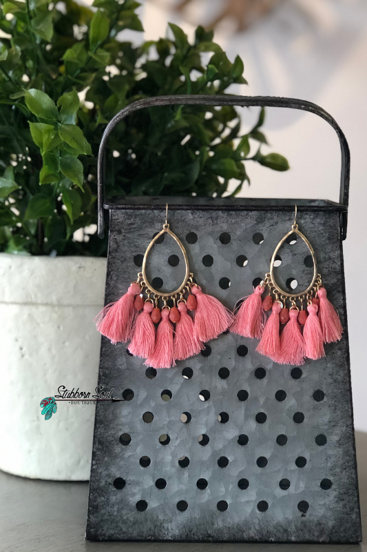 Fun Mix Tassel & Bead Earrings, Light Pink