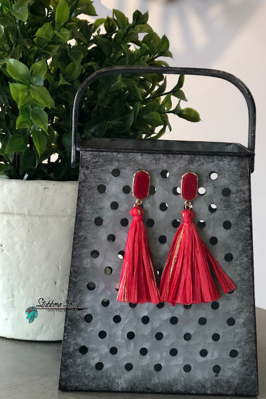 Fiesta Red Tassel Stud Earrings