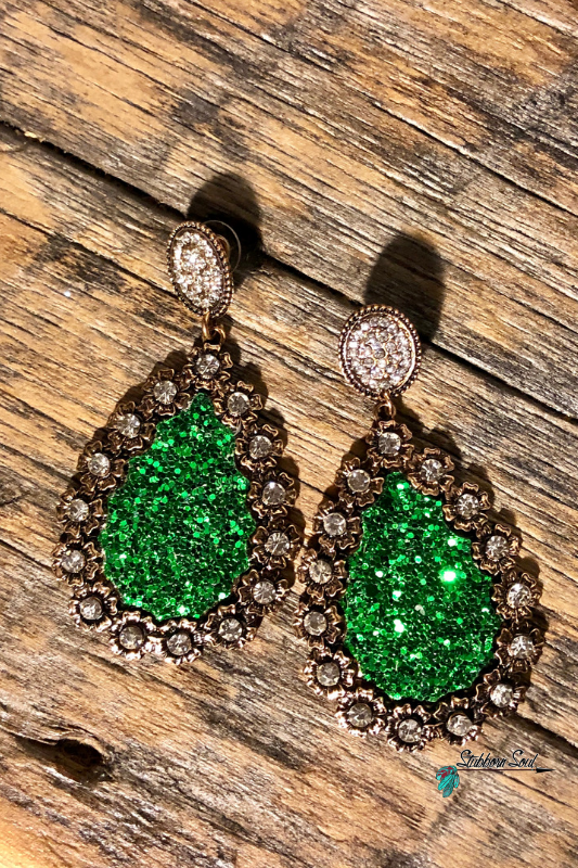 Green Teardrop Earrings with Gold Floral Halo