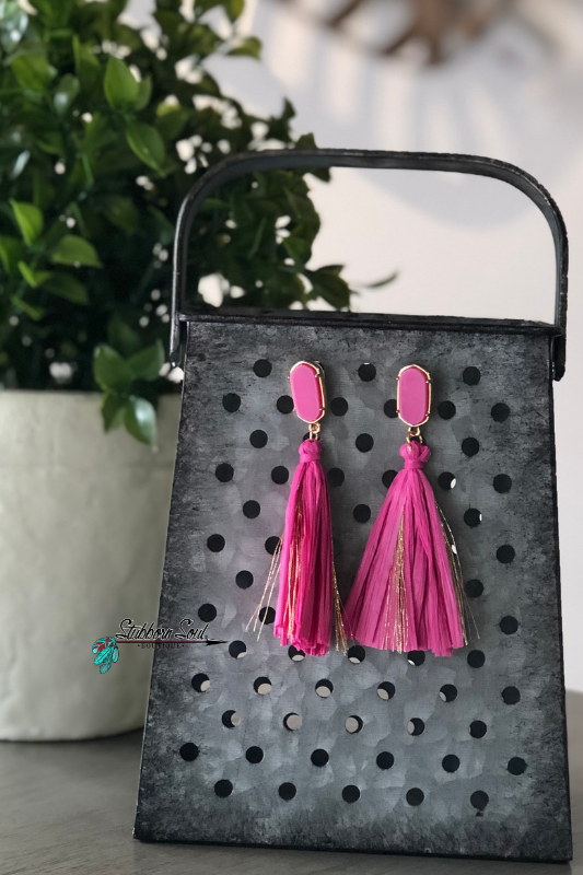 Fiesta Fuchsia Tassel Stud Earrings
