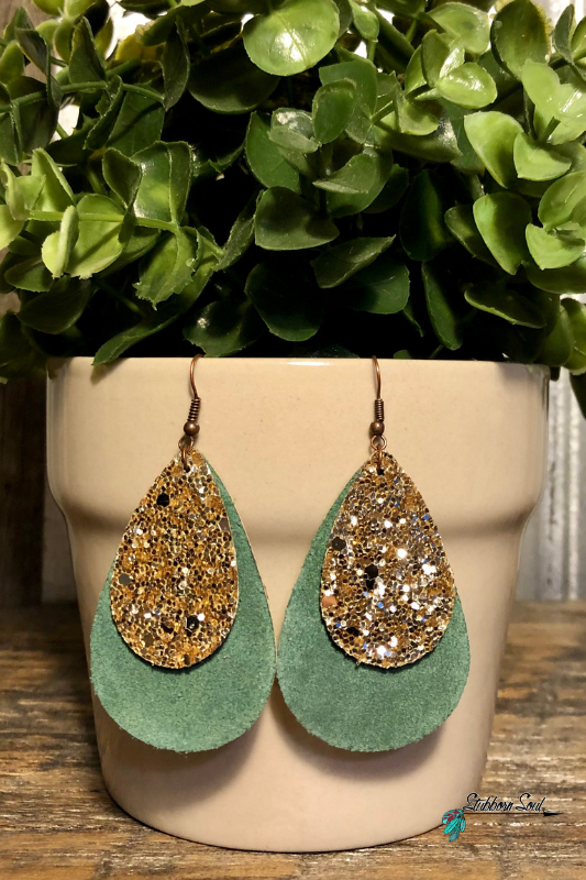 Small Green Teardrop with Gold Glitter Accent Earrings