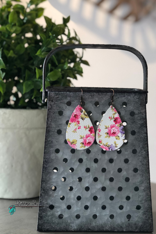 Pink & Purple Roses on White Leather Teardrop Earrings
