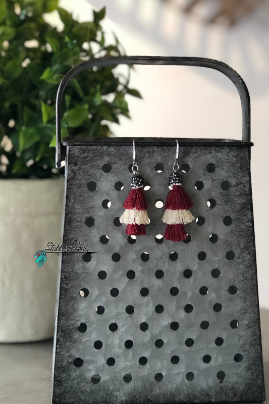 Small Layered Cream & Maroon Tassel Earrings
