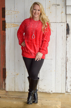 Allison Oversized Sweater in Red