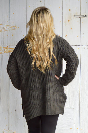 Charlie Oversized Sweater in Ash Grey