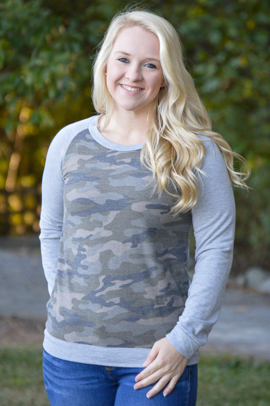 Harper Camo Long Sleeve Top