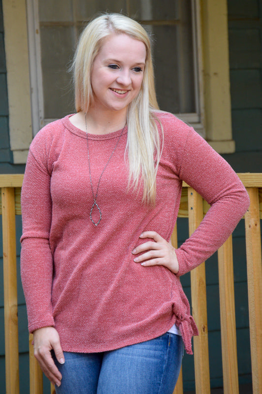 Kinsley Side Tie Long Sleeve Top in Mauve