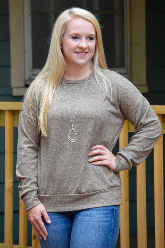 Ava Taupe Sweater Stubborn Soul Boutique