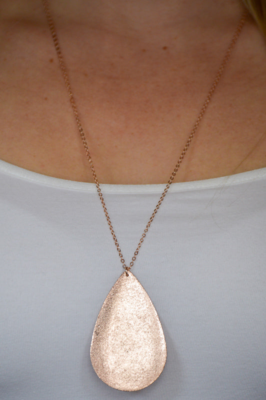 Metal Teardrop Necklace - Rose Gold Necklace Stubborn Soul Boutique