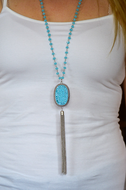Crystal Oval Pendant & Tassel Necklace in Aqua Necklace Stubborn Soul Boutique