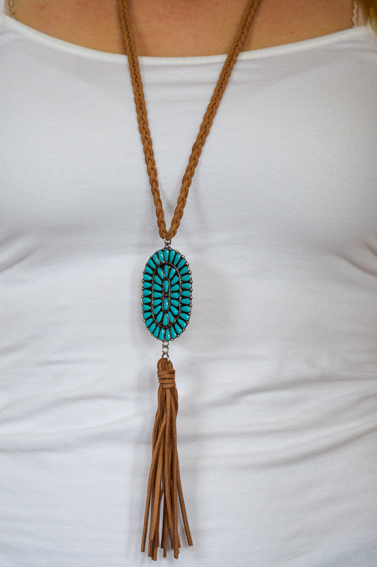 Laramie Braided Rope and Turquoise Pendant Necklace