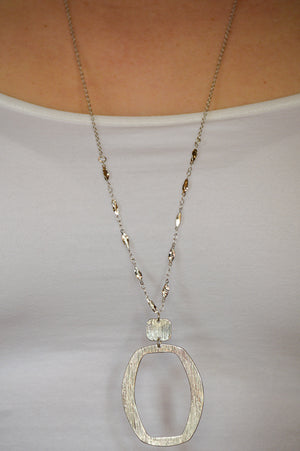 Metal Pendant Necklace - Silver
