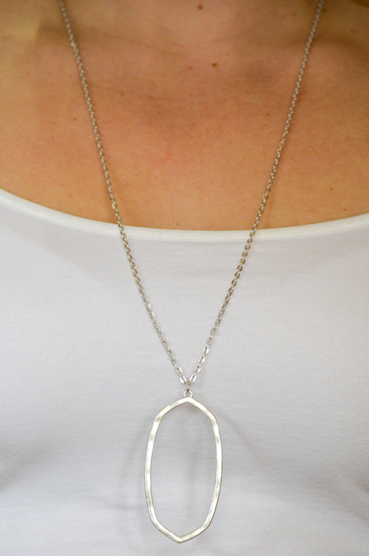 Oval Silver Necklace