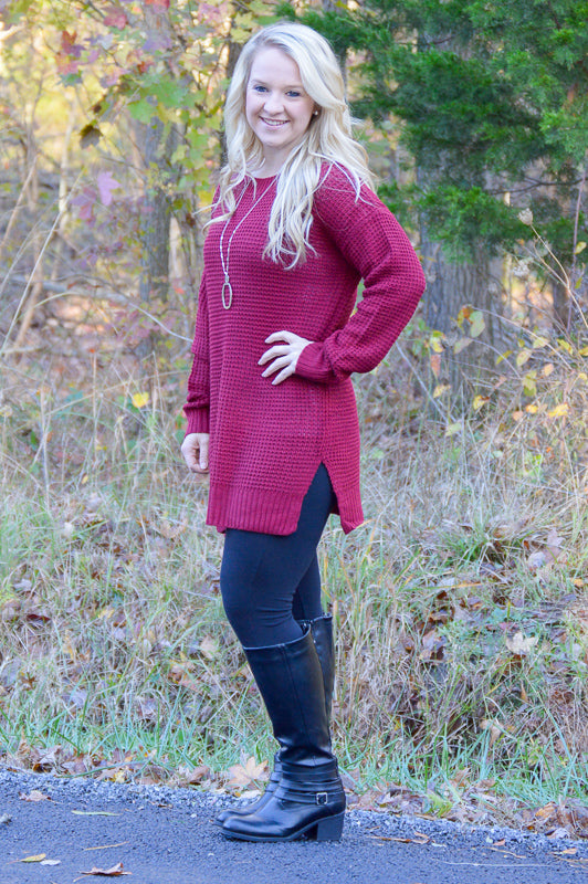 Molly Tunic Sweater in Cabernet