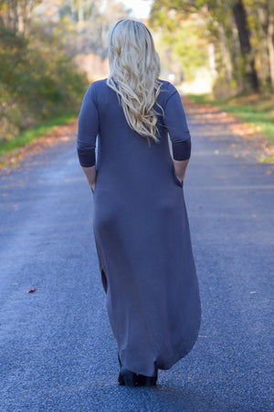 Gwen 3/4 Sleeve Maxi Dress in Ash Grey