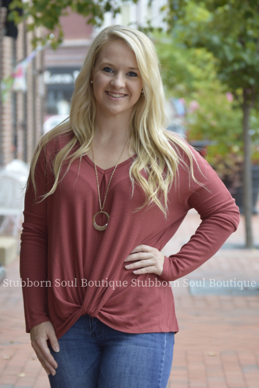 Emry Long Sleeve Rust Top Stubborn Soul Boutique