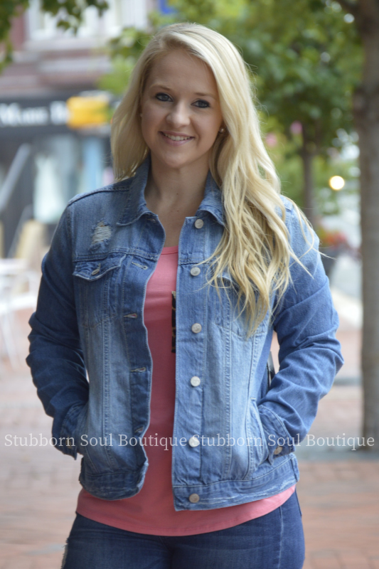 Nashville Distressed Denim Jacket Stubborn Soul Boutique